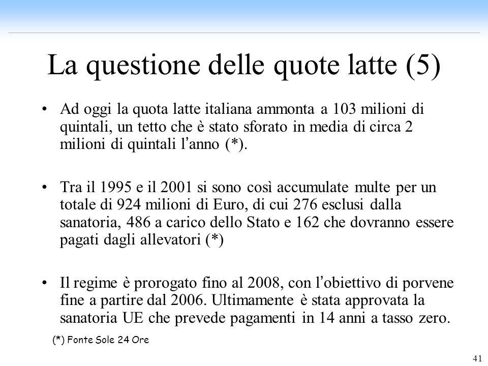 41 La questione delle quote latte (5) Ad oggi la quota latte italiana ammonta a 103 milioni di quintali, un tetto che è stato sforato in media di circ