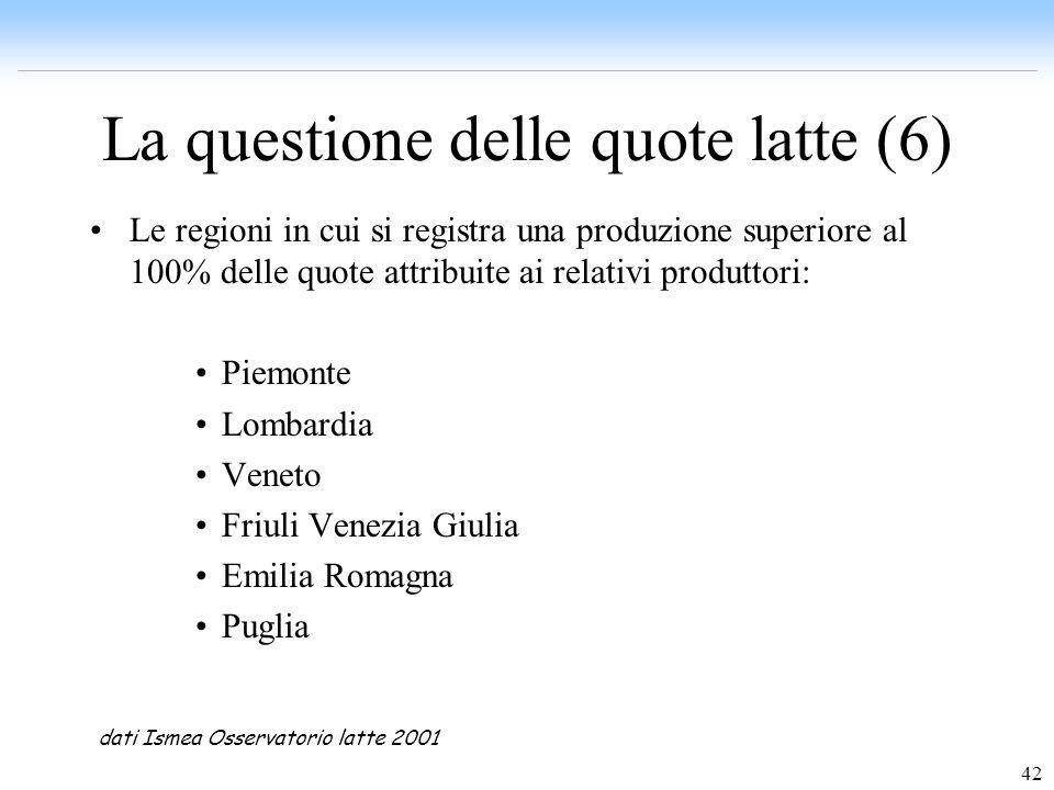42 La questione delle quote latte (6) Le regioni in cui si registra una produzione superiore al 100% delle quote attribuite ai relativi produttori: Pi