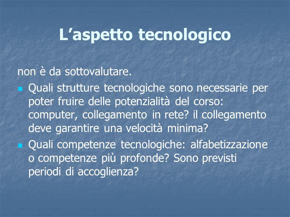 Laspetto tecnologico non è da sottovalutare. Quali strutture tecnologiche sono necessarie per poter fruire delle potenzialità del corso: computer, col