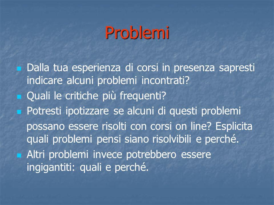 Problemi Dalla tua esperienza di corsi in presenza sapresti indicare alcuni problemi incontrati.