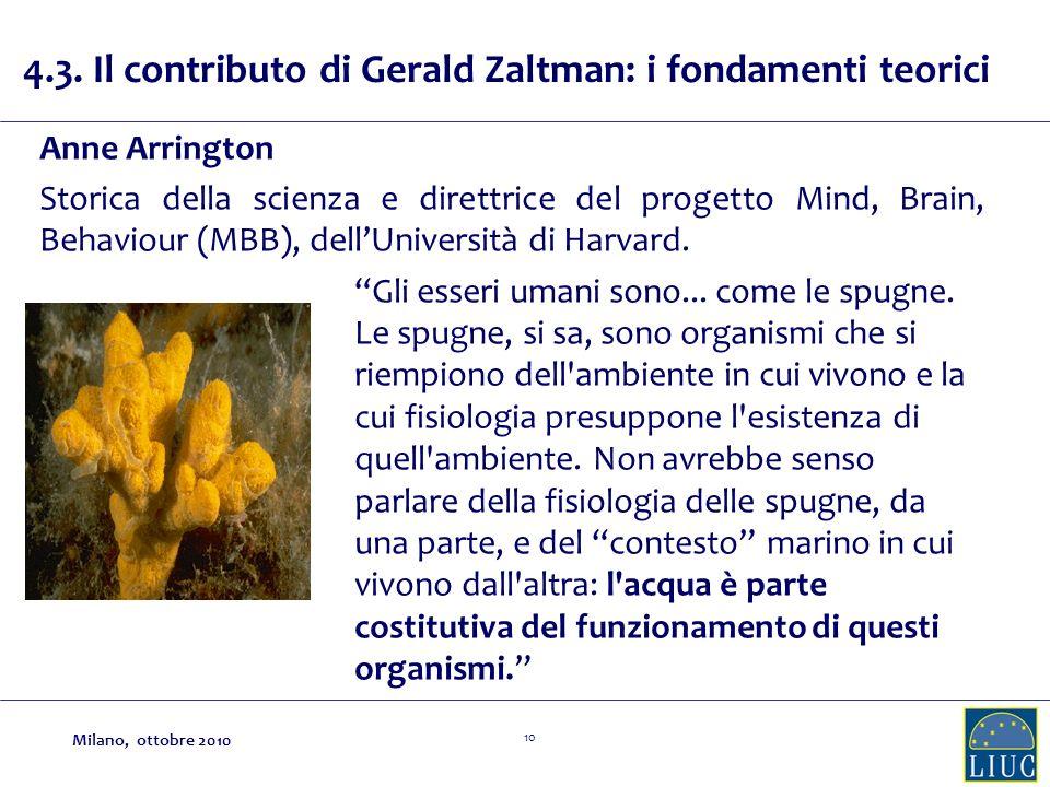 10 4.3. Il contributo di Gerald Zaltman: i fondamenti teorici Anne Arrington Storica della scienza e direttrice del progetto Mind, Brain, Behaviour (M