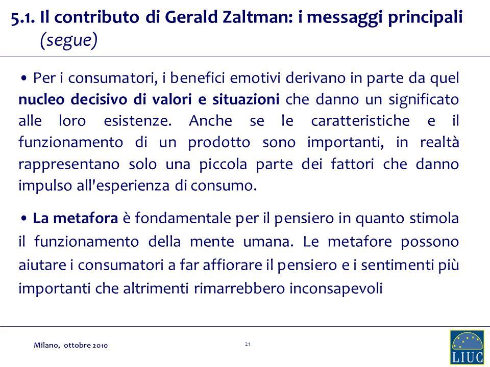 21 5.1. Il contributo di Gerald Zaltman: i messaggi principali (segue) Per i consumatori, i benefici emotivi derivano in parte da quel nucleo decisivo