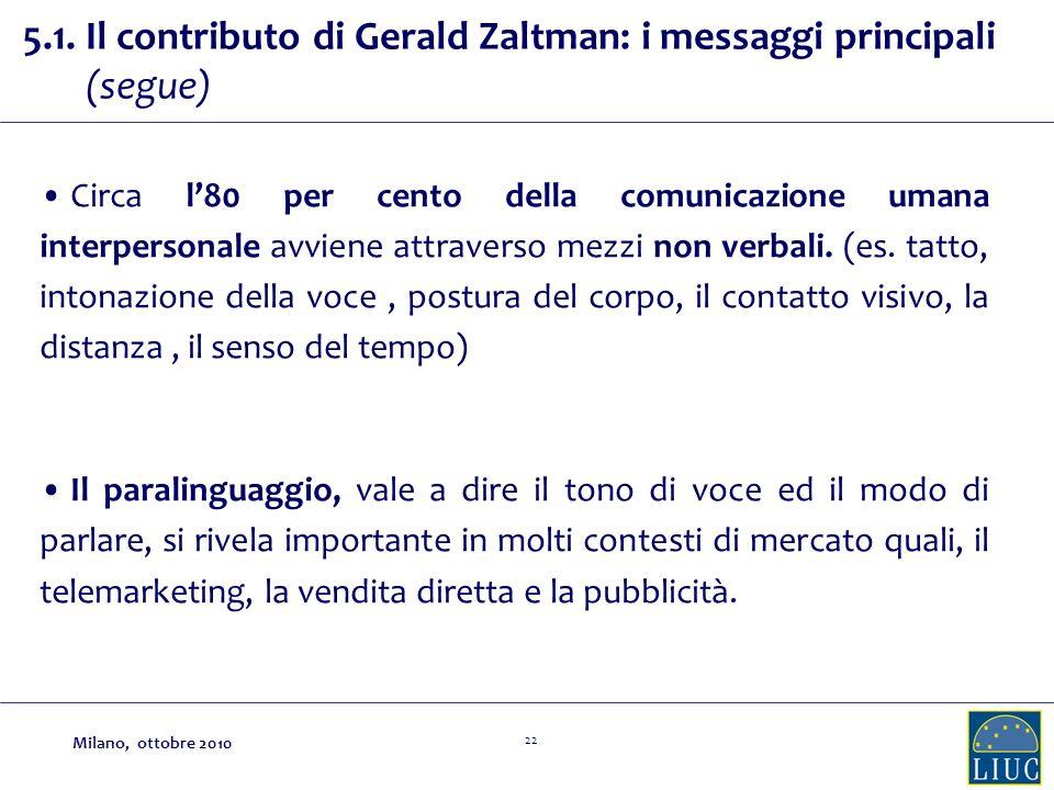 22 5.1. Il contributo di Gerald Zaltman: i messaggi principali (segue) Circa l80 per cento della comunicazione umana interpersonale avviene attraverso