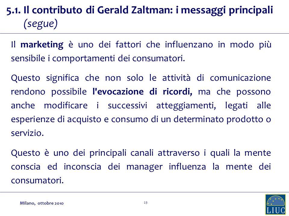 23 5.1. Il contributo di Gerald Zaltman: i messaggi principali (segue) Il marketing è uno dei fattori che influenzano in modo più sensibile i comporta