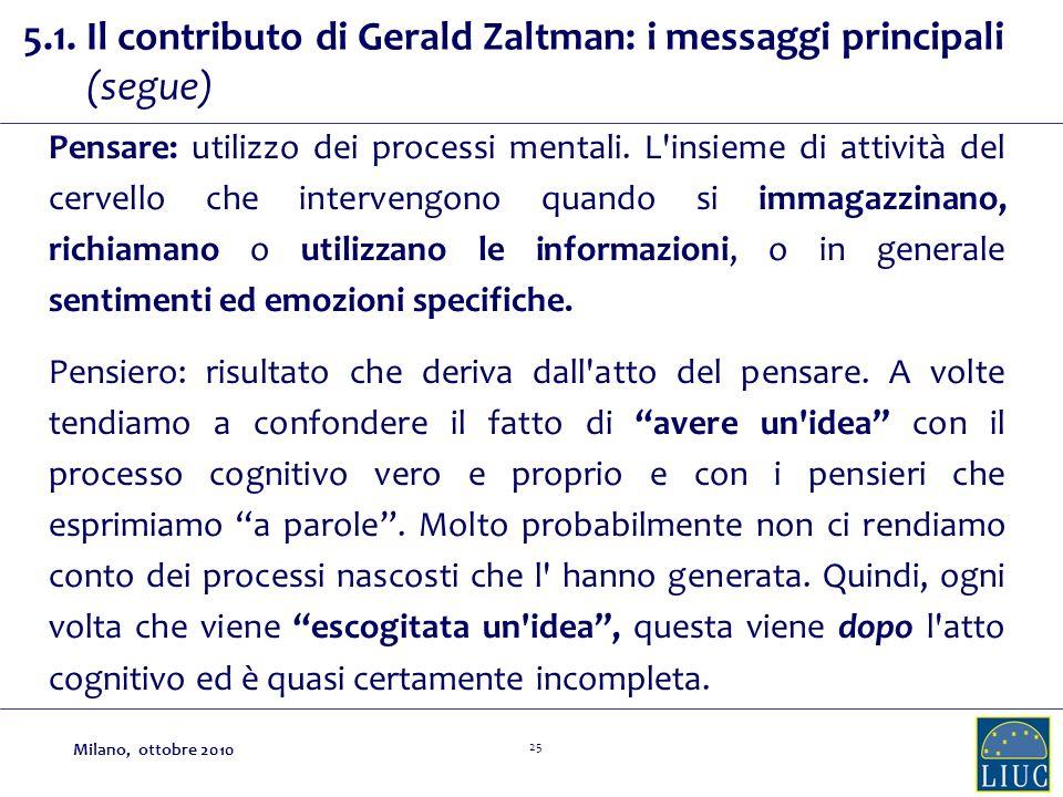 25 5.1. Il contributo di Gerald Zaltman: i messaggi principali (segue) Pensare: utilizzo dei processi mentali. L'insieme di attività del cervello che