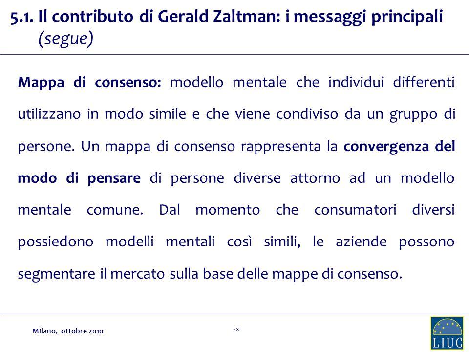 28 5.1. Il contributo di Gerald Zaltman: i messaggi principali (segue) Mappa di consenso: modello mentale che individui differenti utilizzano in modo