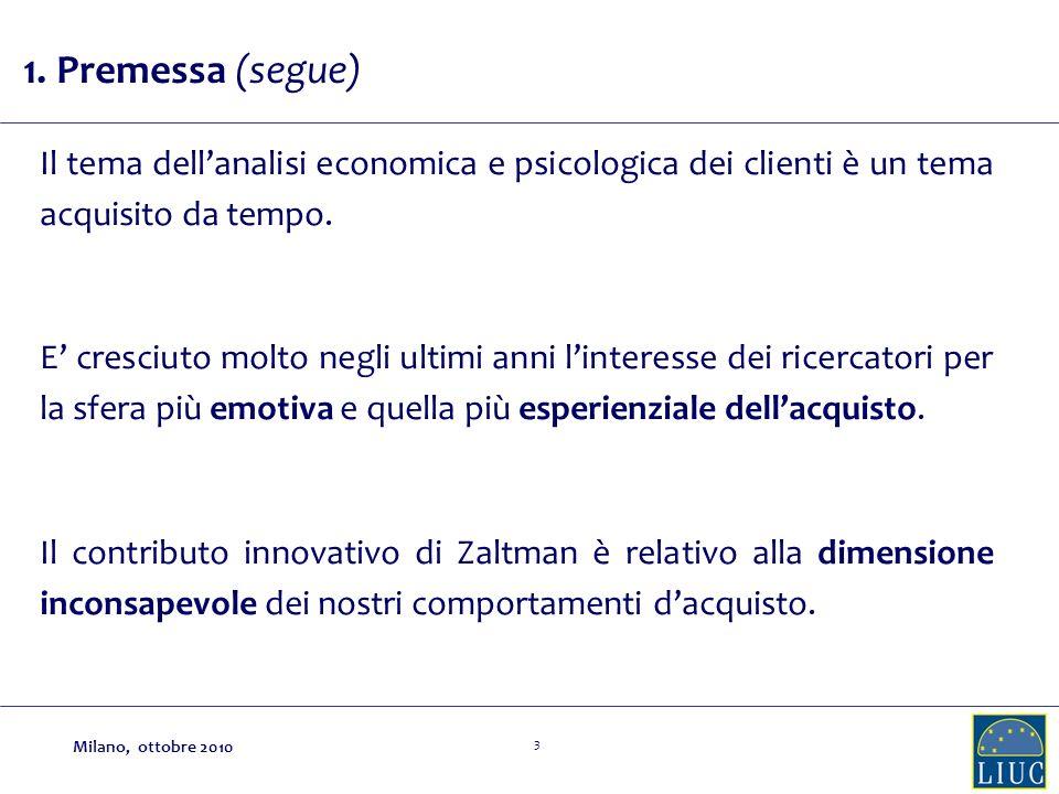 3 Il tema dellanalisi economica e psicologica dei clienti è un tema acquisito da tempo. E cresciuto molto negli ultimi anni linteresse dei ricercatori