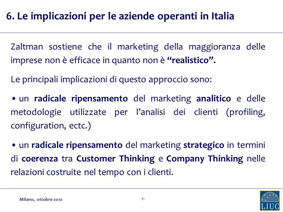 31 6. Le implicazioni per le aziende operanti in Italia Zaltman sostiene che il marketing della maggioranza delle imprese non è efficace in quanto non