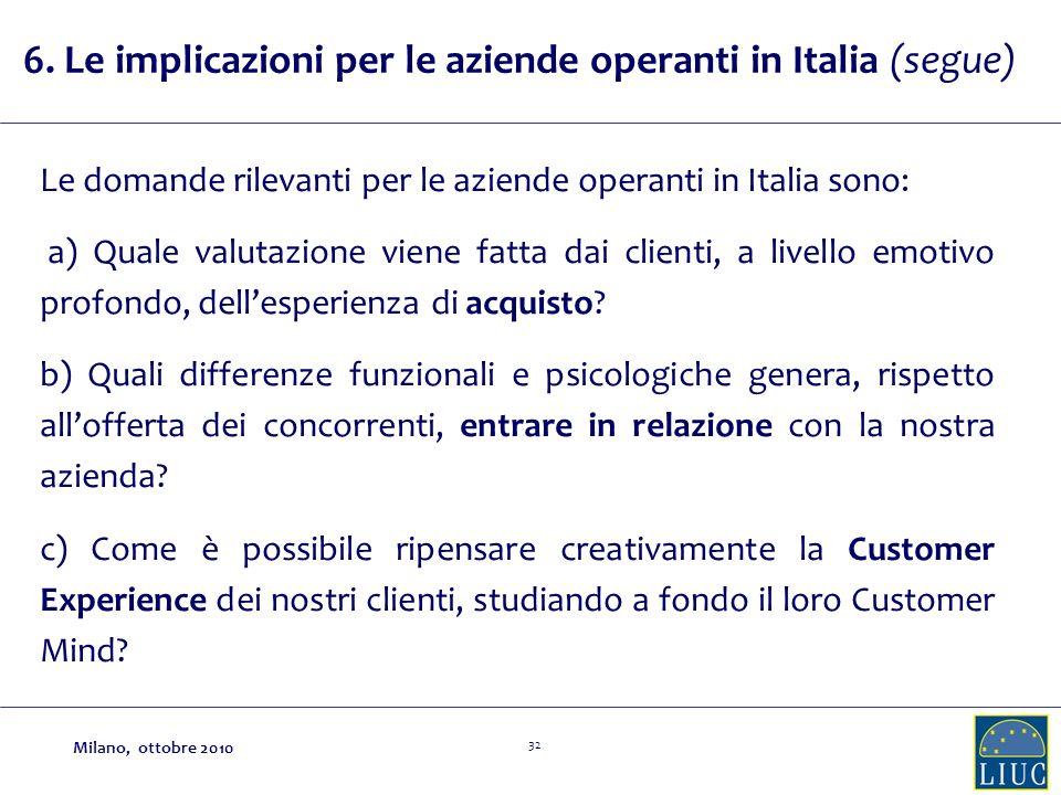 32 6. Le implicazioni per le aziende operanti in Italia (segue) Le domande rilevanti per le aziende operanti in Italia sono: a) Quale valutazione vien