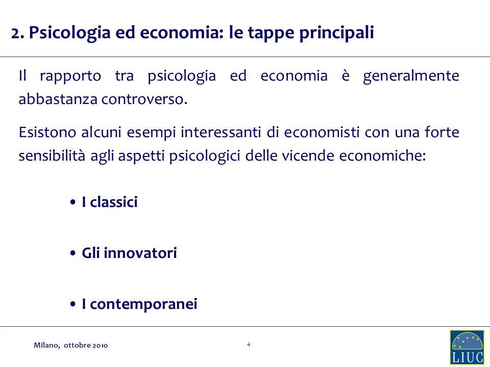 4 Il rapporto tra psicologia ed economia è generalmente abbastanza controverso. Esistono alcuni esempi interessanti di economisti con una forte sensib
