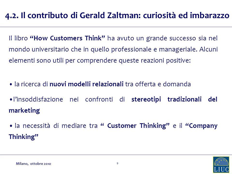 9 4.2. Il contributo di Gerald Zaltman: curiosità ed imbarazzo Il libro How Customers Think ha avuto un grande successo sia nel mondo universitario ch