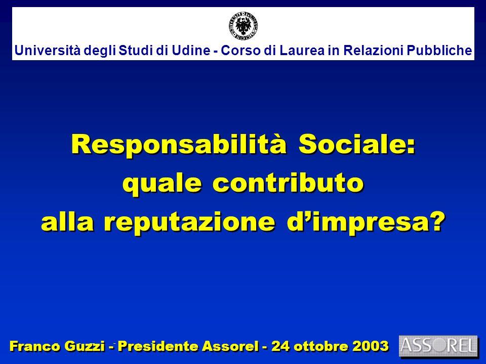 Franco Guzzi - Presidente Assorel 1/12 Responsabilità Sociale: quale contributo alla reputazione dimpresa.