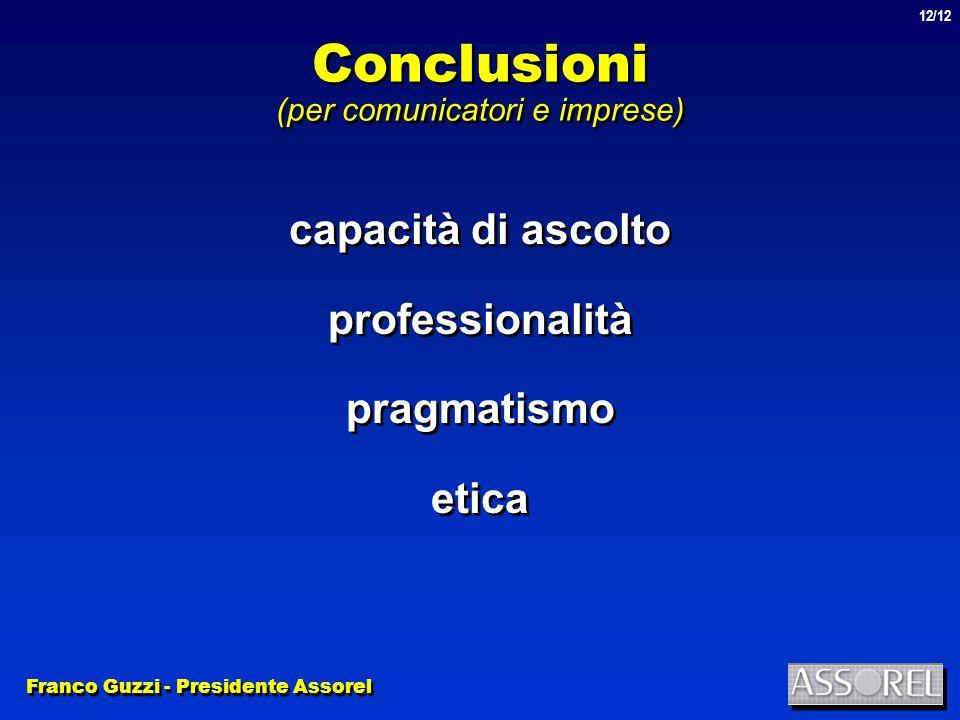 Franco Guzzi - Presidente Assorel 12/12 Conclusioni (per comunicatori e imprese) capacità di ascolto professionalità pragmatismo etica capacità di ascolto professionalità pragmatismo etica
