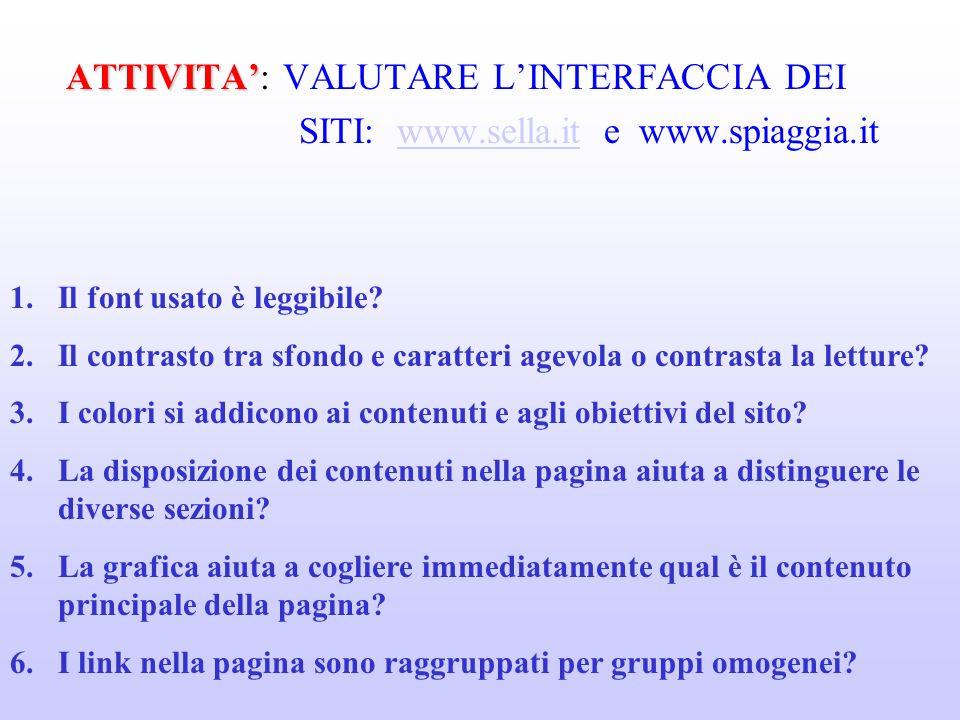 ATTIVITA ATTIVITA: VALUTARE LINTERFACCIA DEI SITI: www.sella.it e www.spiaggia.itwww.sella.it 1.Il font usato è leggibile.