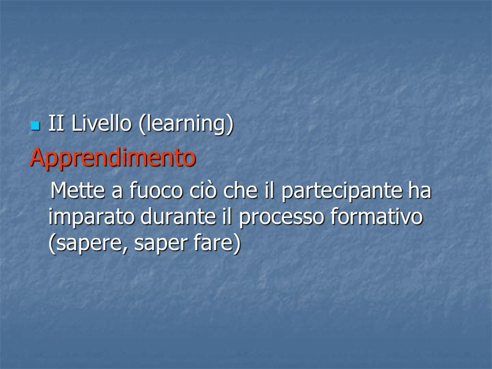 II Livello (learning) II Livello (learning)Apprendimento Mette a fuoco ciò che il partecipante ha imparato durante il processo formativo (sapere, saper fare) Mette a fuoco ciò che il partecipante ha imparato durante il processo formativo (sapere, saper fare)