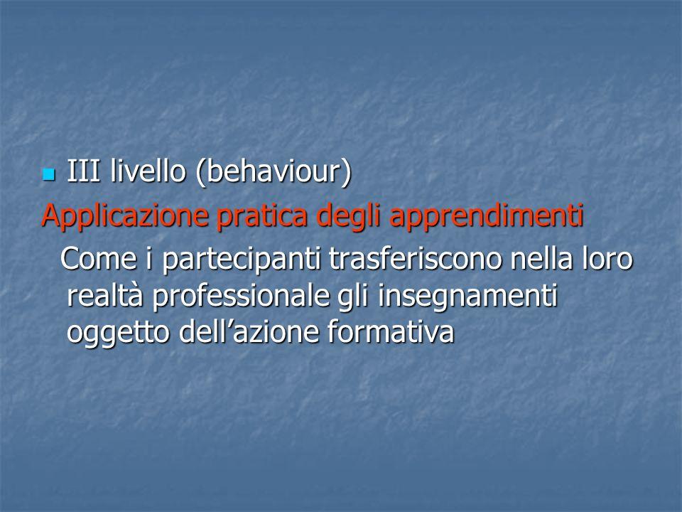 IV livello (result) IV livello (result) Impatto sullorganizzazione La positività dellimpatto può essere intesa a diversi livelli: da quello economico a quello della soddisfazione della clientela La positività dellimpatto può essere intesa a diversi livelli: da quello economico a quello della soddisfazione della clientela