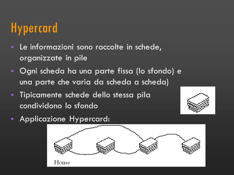La storia più recente: Hypercard Hypercard (Bill Atkinson, 1987) reso disponibile su ogni Macintosh dalla Apple. Gestore di informazione multimediale: