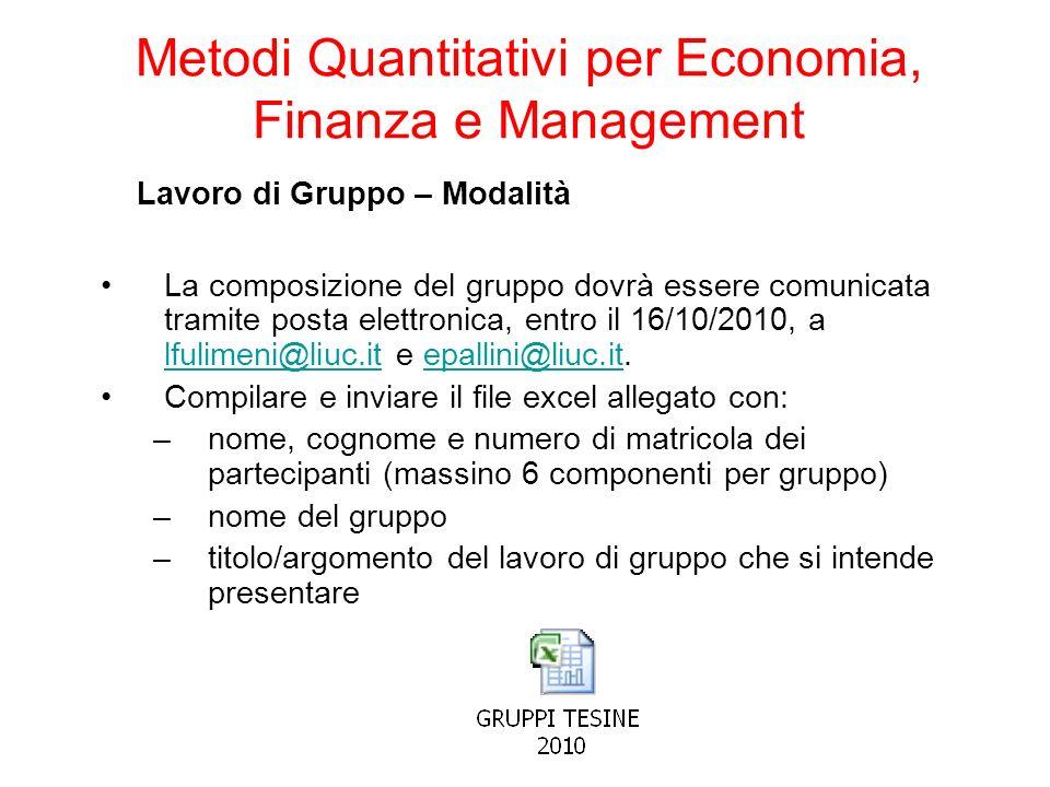 Lavoro di Gruppo – Modalità La composizione del gruppo dovrà essere comunicata tramite posta elettronica, entro il 16/10/2010, a lfulimeni@liuc.it e e