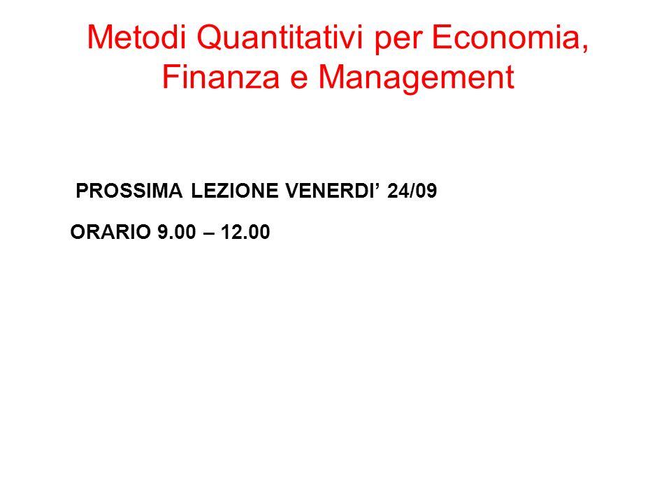 PROSSIMA LEZIONE VENERDI 24/09 ORARIO 9.00 – 12.00