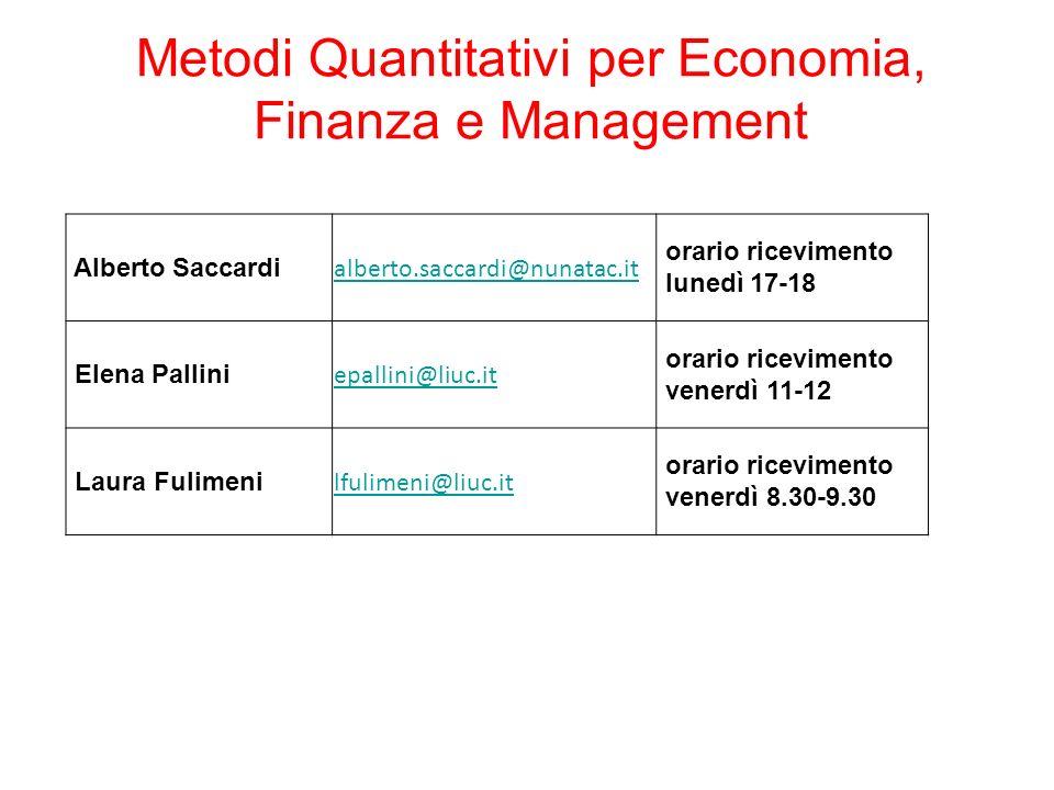 Metodi Quantitativi per Economia, Finanza e Management Alberto Saccardi alberto.saccardi@nunatac.it orario ricevimento lunedì 17-18 Elena Pallini epal