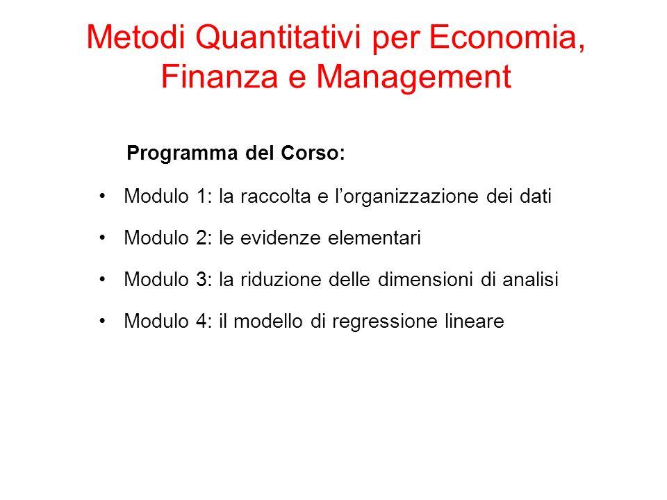 Programma del Corso: Modulo 1: la raccolta e lorganizzazione dei dati Modulo 2: le evidenze elementari Modulo 3: la riduzione delle dimensioni di anal