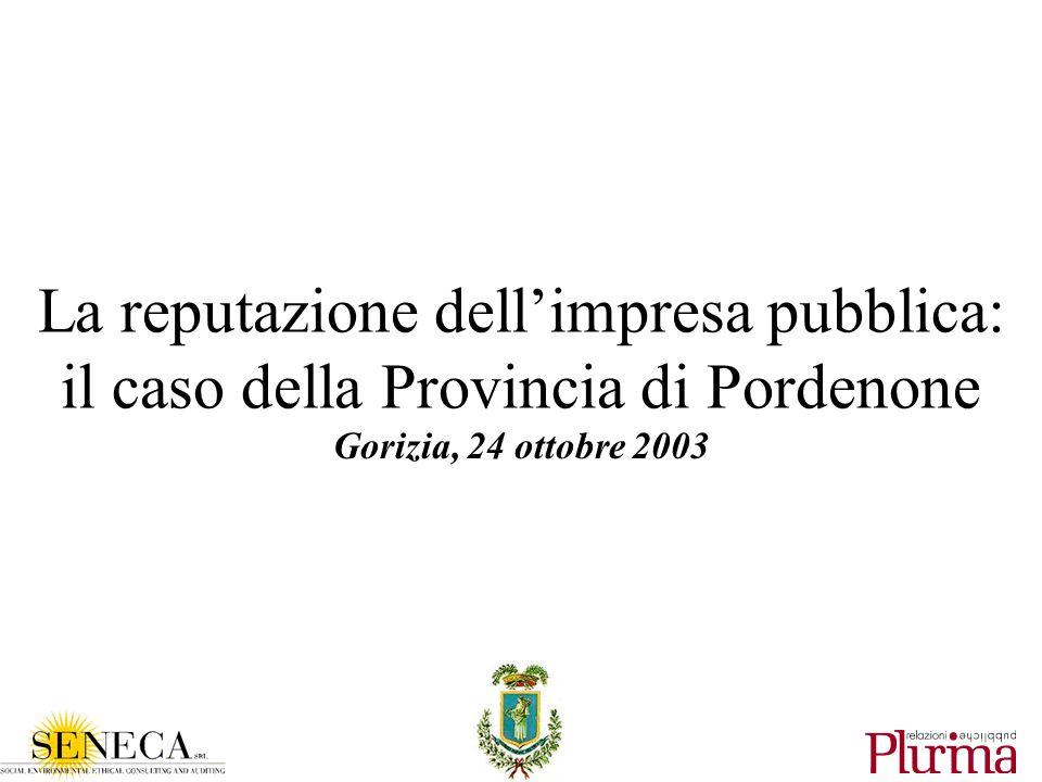 La reputazione dellimpresa pubblica: il caso della Provincia di Pordenone Gorizia, 24 ottobre 2003