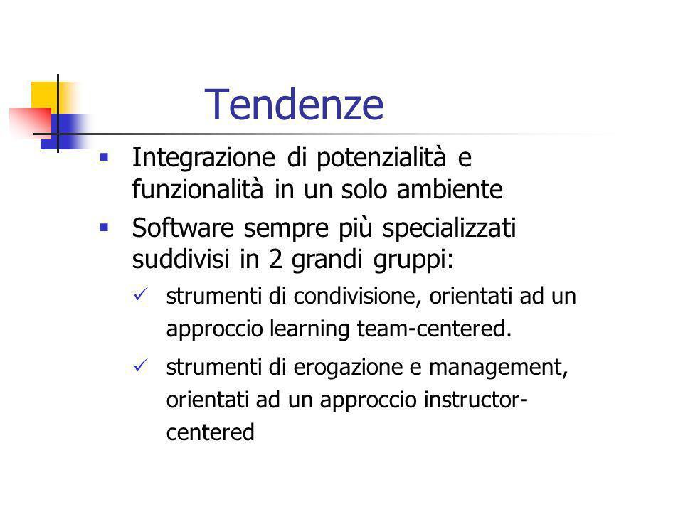 Tendenze Integrazione di potenzialità e funzionalità in un solo ambiente Software sempre più specializzati suddivisi in 2 grandi gruppi: strumenti di condivisione, orientati ad un approccio learning team-centered.