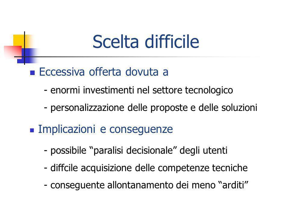 Soluzione dosata - Infrastruttura tecnologica minima - Focus sugli attori Soluzione integrata - Uso di piattaforme strutturate - Focus sul sistema .