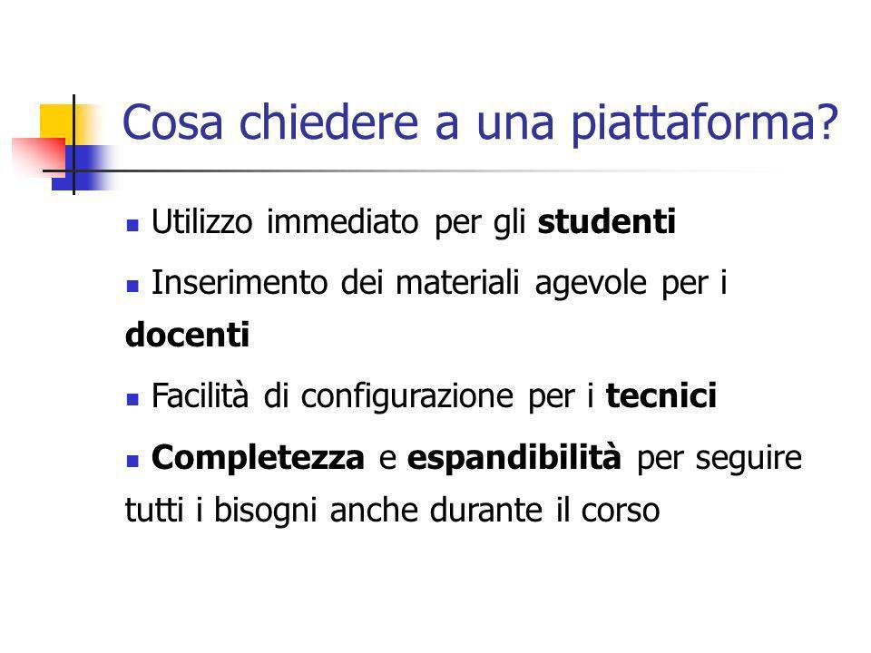 Cosa chiedere a una piattaforma? Utilizzo immediato per gli studenti Inserimento dei materiali agevole per i docenti Facilità di configurazione per i