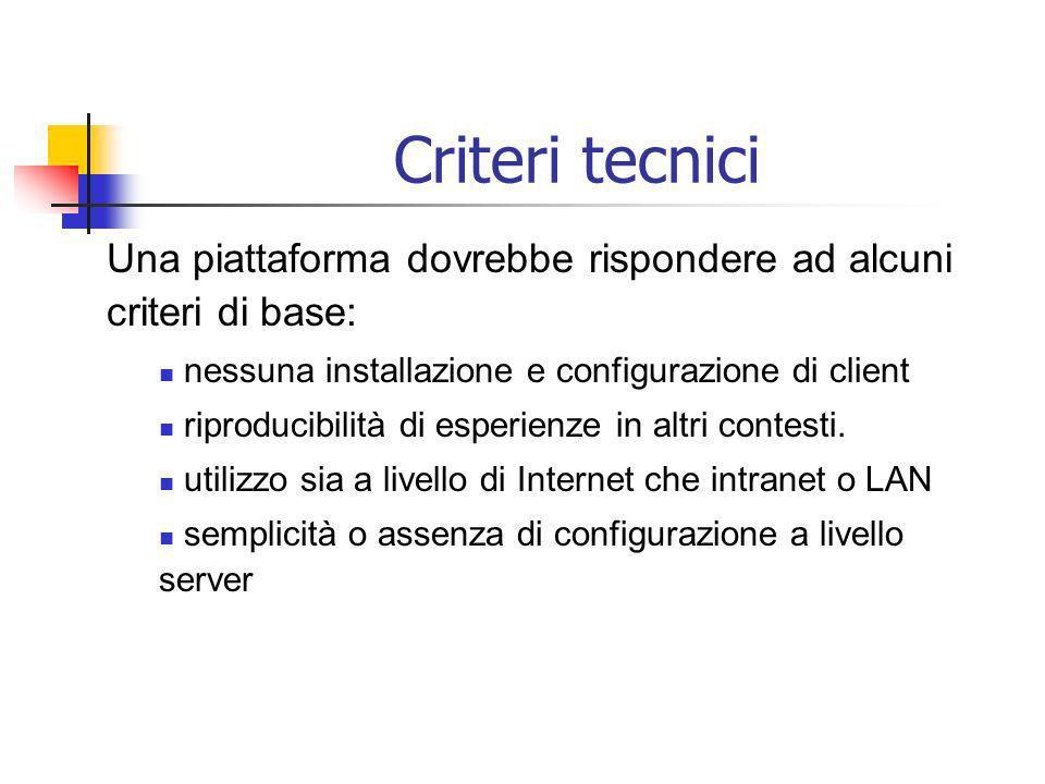 Criteri tecnici Una piattaforma dovrebbe rispondere ad alcuni criteri di base: nessuna installazione e configurazione di client riproducibilità di esperienze in altri contesti.