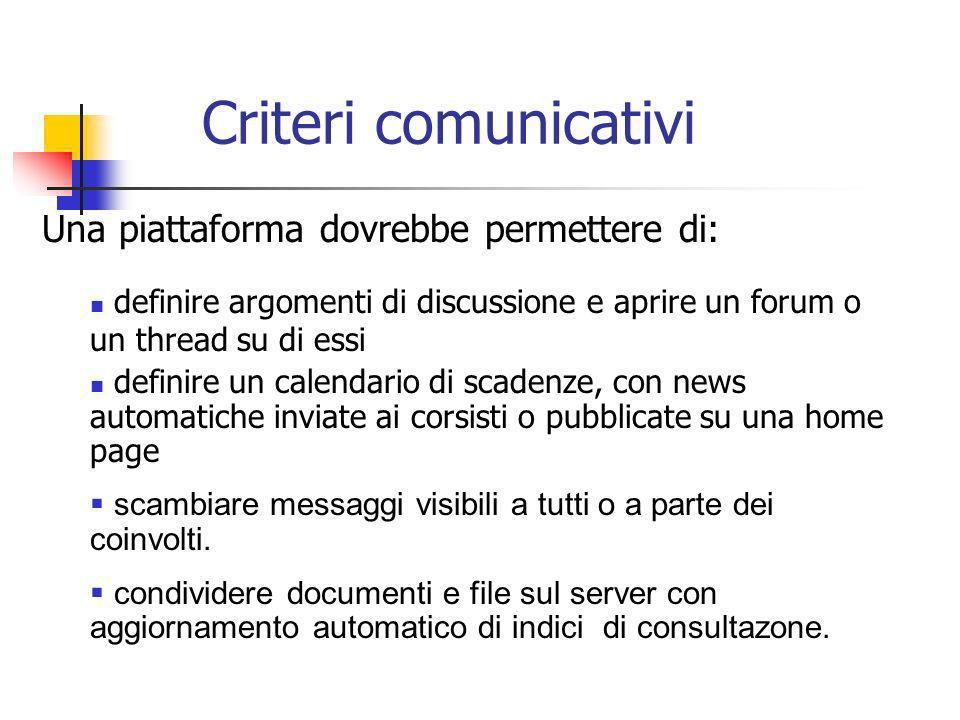 Criteri comunicativi Una piattaforma dovrebbe permettere di: definire argomenti di discussione e aprire un forum o un thread su di essi definire un ca