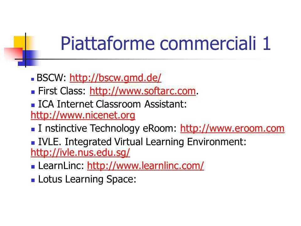 Piattaforme commerciali 1 BSCW: http://bscw.gmd.de/http://bscw.gmd.de/ First Class: http://www.softarc.com.http://www.softarc.com ICA Internet Classro