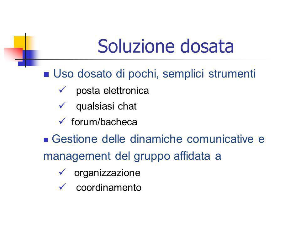 Soluzione dosata Uso dosato di pochi, semplici strumenti posta elettronica qualsiasi chat forum/bacheca Gestione delle dinamiche comunicative e management del gruppo affidata a organizzazione coordinamento