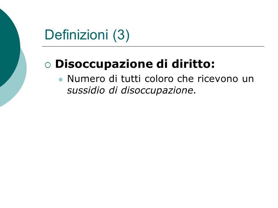 Definizioni (3) Disoccupazione di diritto: Numero di tutti coloro che ricevono un sussidio di disoccupazione.