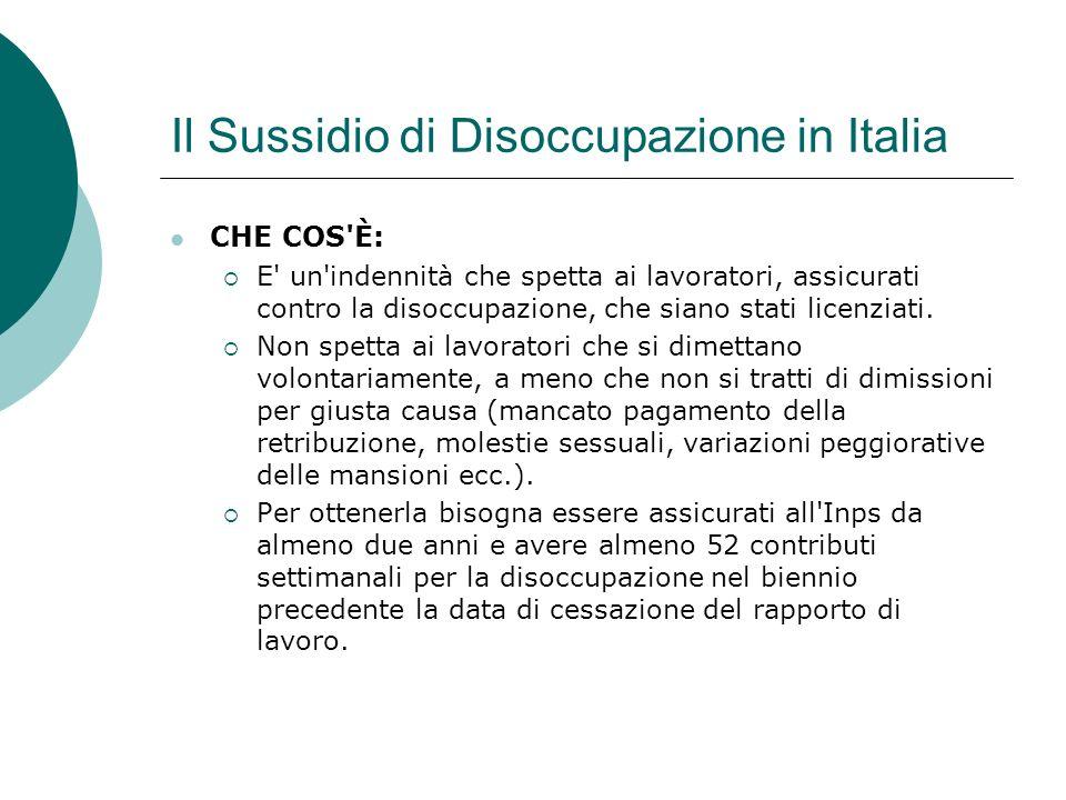 Il Sussidio di Disoccupazione in Italia CHE COS È: E un indennità che spetta ai lavoratori, assicurati contro la disoccupazione, che siano stati licenziati.