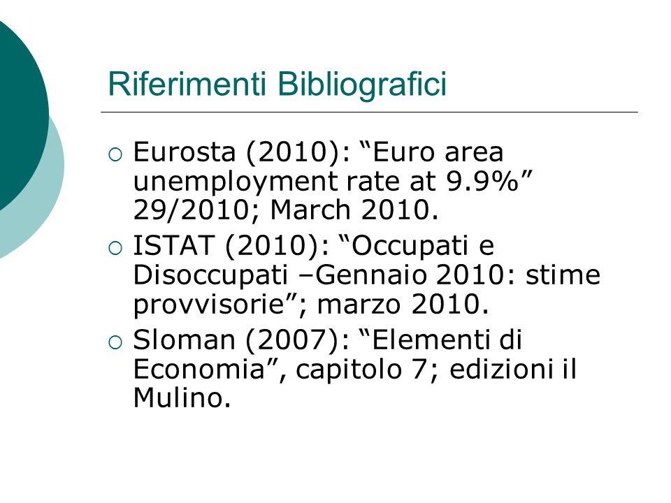 Riferimenti Bibliografici Eurosta (2010): Euro area unemployment rate at 9.9% 29/2010; March 2010.