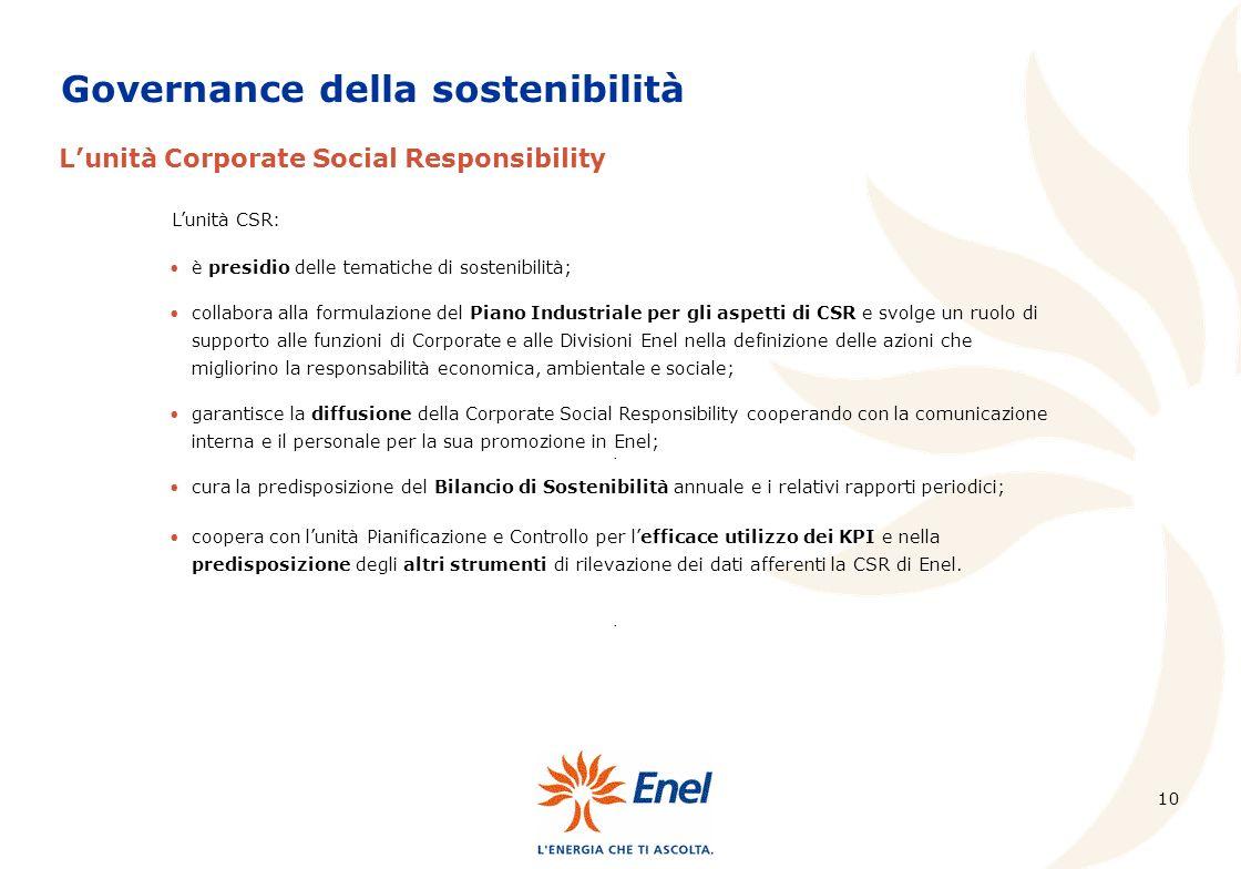 10 Governance della sostenibilità Lunità Corporate Social Responsibility.... è presidio delle tematiche di sostenibilità; collabora alla formulazione