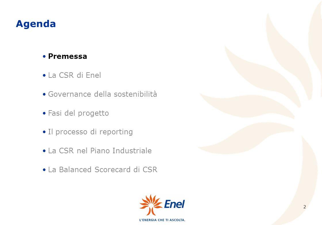 13 Fasi del progetto Nei mesi che hanno impegnato Enel nel progetto di definizione del processo di reportistica per la CSR, sono stati analizzati gli standard di riferimento per la reportistica di sostenibilità più diffusi a livello internazionale: e le richieste dalle agenzie di rating per lammissione agli indici borsistici di sostenibilità: Individuazione dei KPI (key performance indicators) indicatori chiave di attività Global Reporting Initiative (GRI); London Benchmarking Group (LBG); Social Accounting 8000 (SA8000); Council of Economic Priorities (CEP); Human Development Entreprise (HDE); KLD Social Performance Screens; SAM per Dow Jones Sustainability Indexes (DJSI); EIRIS per Financial Times Stock Exchange FTSE4Good; VIGEO per Advanced Sustainable Performance Indices (ASPI).
