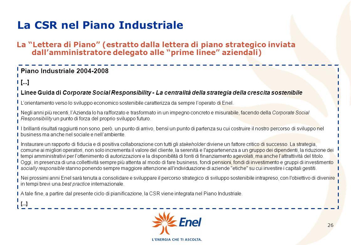 26 La CSR nel Piano Industriale La Lettera di Piano (estratto dalla lettera di piano strategico inviata dallamministratore delegato alle prime linee a