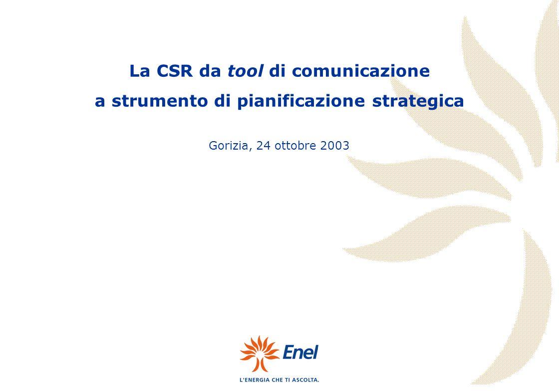 Gorizia, 24 ottobre 2003 La CSR da tool di comunicazione a strumento di pianificazione strategica