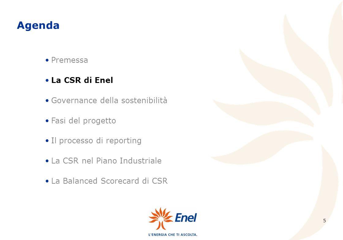 5 Premessa La CSR di Enel Governance della sostenibilità Fasi del progetto Il processo di reporting La CSR nel Piano Industriale La Balanced Scorecard