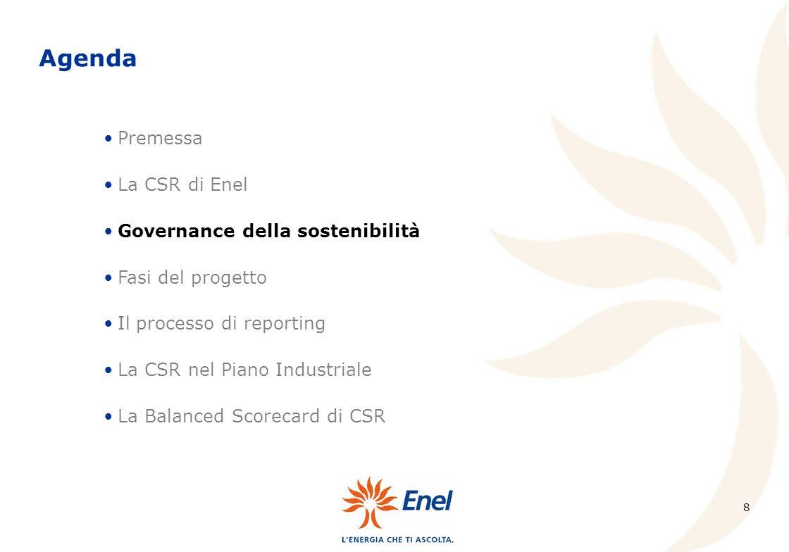 9 Affinché fosse possibile realizzare un processo di pianificazione e controllo di tipo triple bottom line, Enel ha implementato un sistema di reportistica che, a cadenza trimestrale e a partire dalla rilevazione ed elaborazione dei KPI, fosse in grado di: Coerentemente con la struttura organizzativa di Enel, il modello di governance implementato prevede: Il sistema di reporting della CSR illustrare le principali iniziative di miglioramento in corso; e di evidenziare gli scostamenti dagli obiettivi aziendali al fine di poter porre tempestivamente in atto le azioni di correzione.