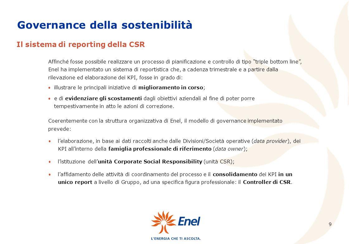 9 Affinché fosse possibile realizzare un processo di pianificazione e controllo di tipo triple bottom line, Enel ha implementato un sistema di reporti