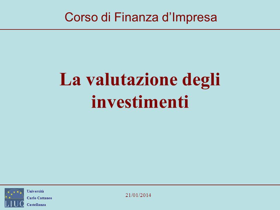 Università Carlo Cattaneo Castellanza 21/01/2014 2 Programma La valutazione degli investimenti: una applicazione Il calcolo del VAN; Il calcolo dellIRR.
