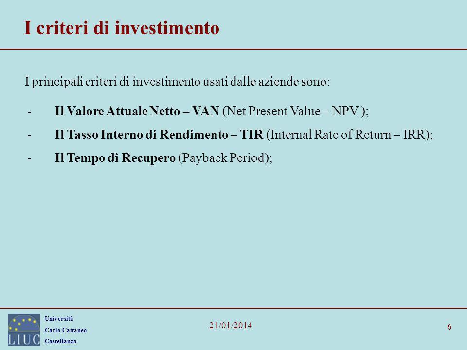 Università Carlo Cattaneo Castellanza 21/01/2014 Periodi 0123456 Flussi di cassa (Euro, migliaia) +800+150 -150 Tassi di rendimento multipli VAN=0 sia con TIR=-50% che con TIR=+15,2% A causa del doppio cambiamento di segno nella serie dei flussi di cassa, allaumentare del tasso di attualizzazione, il VAN allinizio aumenta, dopo di che diminuisce.