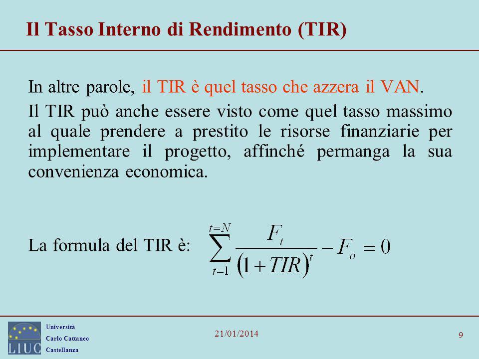 Università Carlo Cattaneo Castellanza 21/01/2014 9 Il Tasso Interno di Rendimento (TIR) In altre parole, il TIR è quel tasso che azzera il VAN. Il TIR