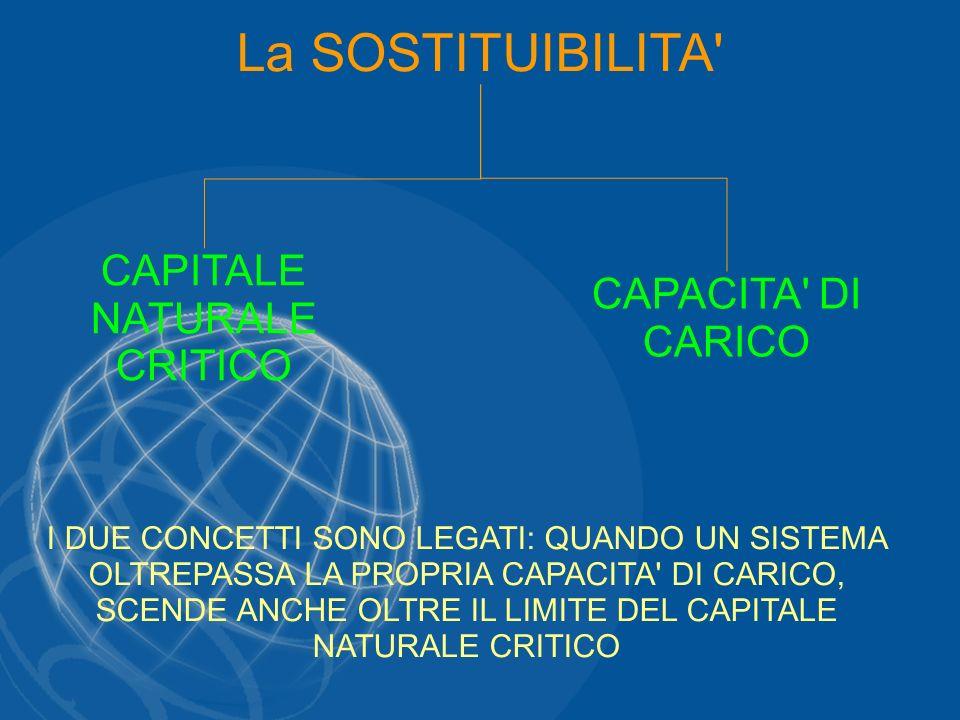 La SOSTITUIBILITA' CAPITALE NATURALE CRITICO CAPACITA' DI CARICO I DUE CONCETTI SONO LEGATI: QUANDO UN SISTEMA OLTREPASSA LA PROPRIA CAPACITA' DI CARI