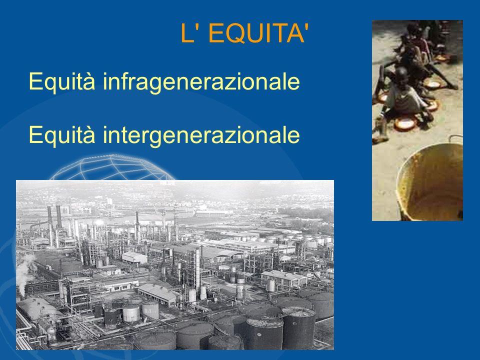 L' EQUITA' Equità infragenerazionale Equità intergenerazionale