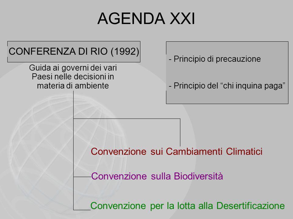 AGENDA XXI CONFERENZA DI RIO (1992) Guida ai governi dei vari Paesi nelle decisioni in materia di ambiente - Principio di precauzione - Principio del
