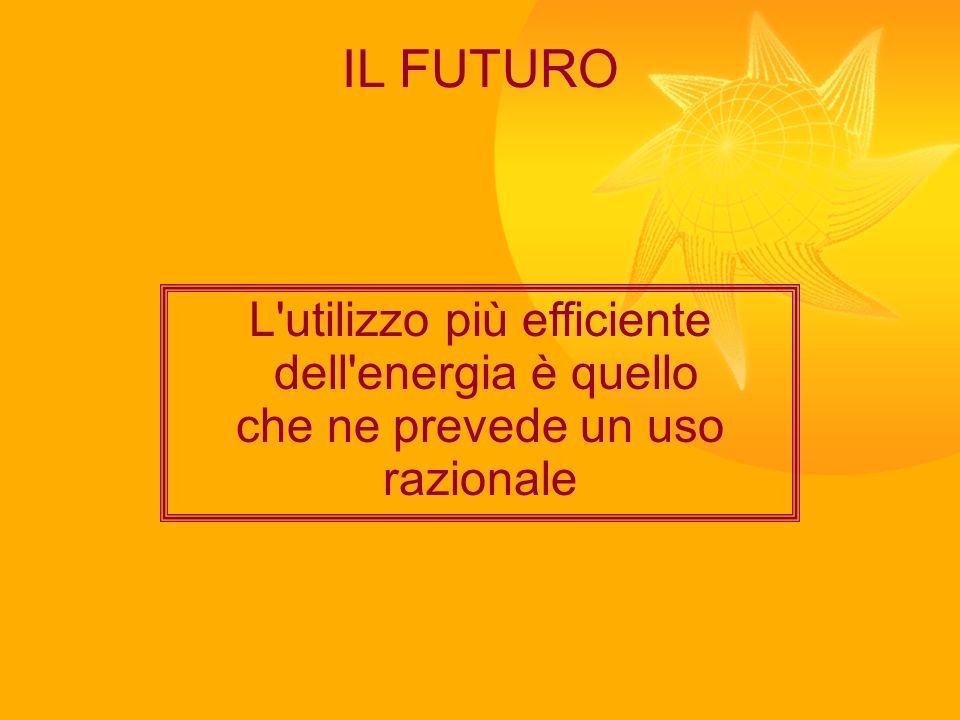 IL FUTURO L'utilizzo più efficiente dell'energia è quello che ne prevede un uso razionale